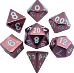 Metallic Dice 16mm Poly Pink 7ct Set