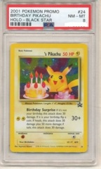Birthday Pikachu - 24 - PSA NM-MT 8 - Holo Rare - (Black Star Promo)