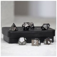 Legendary Copper 7 Piece Metal Dice Set - Black Signature Font