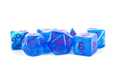 Stardust Blue w/ Purple Numbers 16mm Polyhedral Dice Set