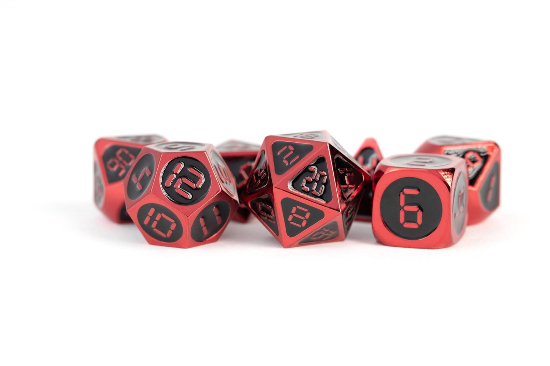 Red with Black Enamel Digital 16mm Polyhedral Dice Set
