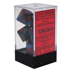 Chessex 26458 7 Black-Starlight w/Red Gemini Polyhedral Dice Set