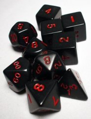 Koplow - Polyhedral - Black and Red 10 Dice Set in Tube
