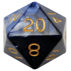 Blue/White with Gold Numbers 35mm Mega Acrylic d20 Dice