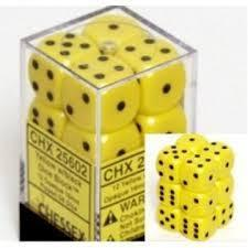 Chessex 25602 Dice d6 Set: Yellow/Black - 16mm Six Sided Die (12) Block of Dice