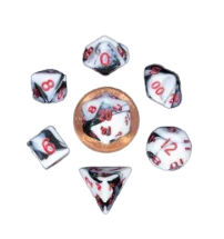 Mini Polyhedral Dice Set - Marble w/Red Numbers