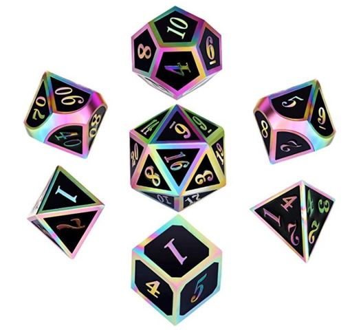 Metal & Enamel Dice Set (7pcs) [Black Iridescence]