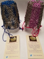 Kittensoft Chainmail Large Dice Bag With String (SR/LC-SC) Silver with Bronze or Purple