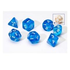 SIRIUS DICE 7CT TRANSPARENT POLY DICE SET - BLUE W/WHITE RESIN