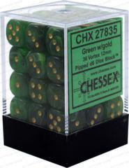 Chessex 27835 36 Green w/gold Vortex 12mm D6 Dice Block