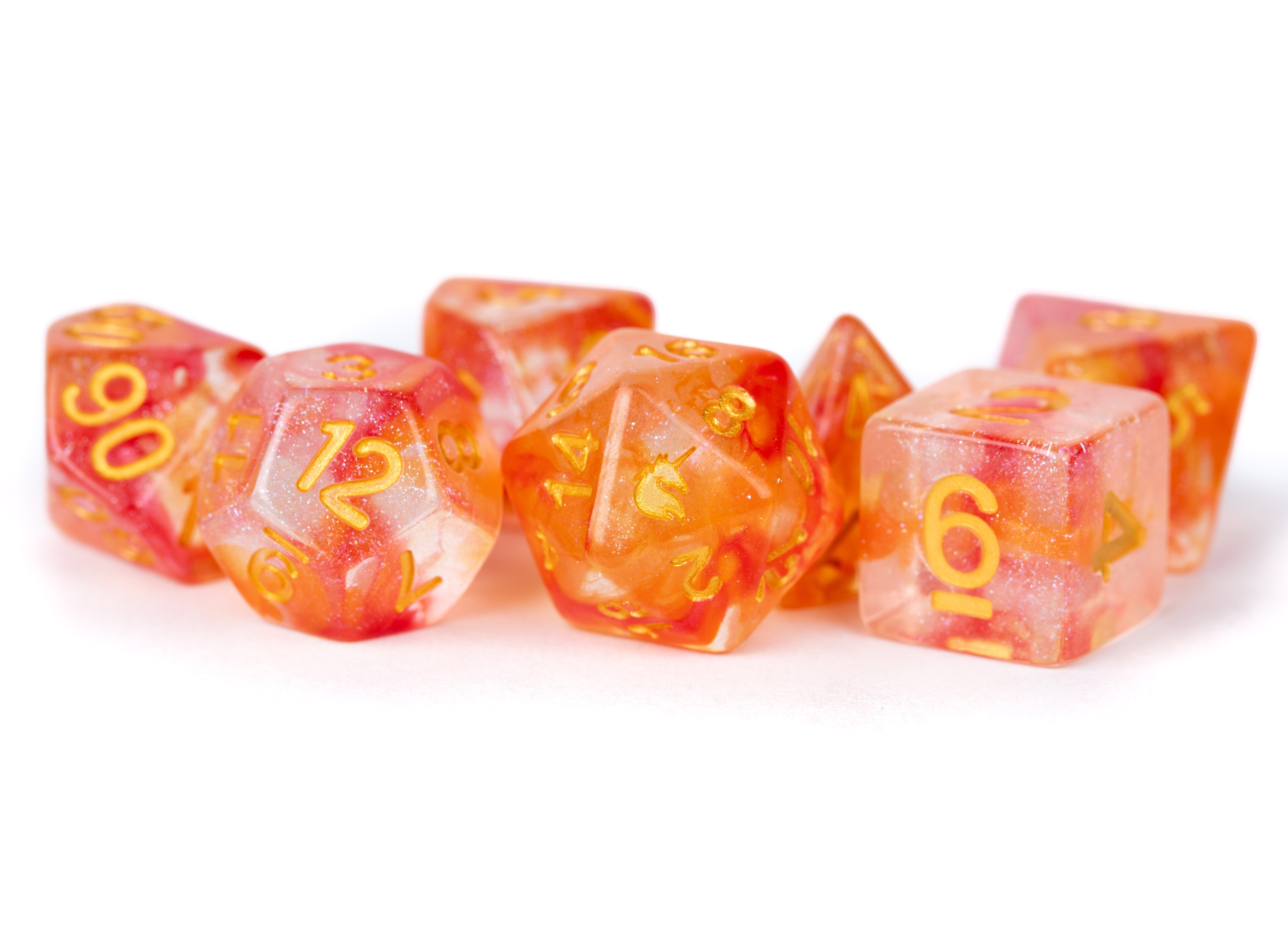 16mm Resin Poly Dice Set Unicorn: Mystic Embers