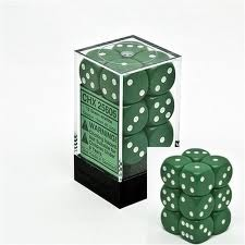 Chessex 25605 Dice d6 Set: Green/White - 16mm Six Sided Die (12) Block of Dice