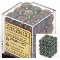 Chessex 25815 Opaque Dusty Green/Gold 12mm d6 Dice Block