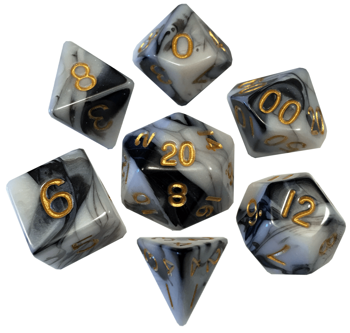 Marble with Gold Numbers 16mm Polyhedral Dice Set
