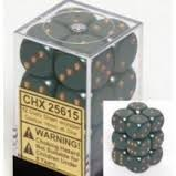 Chessex 25615 Dice d6 Set: Dusty Green/Gold - 16mm Six Sided Die (12) Block of Dice