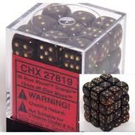 Chessex 27819 Dice d6 Set: Blue Gold W/Gold Scarab  - 12mm Six Sided Die (36) Block of Dice