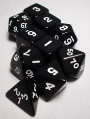 Koplow - Polyhedral - Black and White 10 Dice Set in Tube