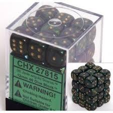 Chessex 27815 Dice d6 Set: Jade W/Gold Scarab - 12mm Six Sided Die (36) Block of Dice