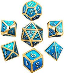 Metal & Enamel Dice Set (7pcs) [Teal Glitter]
