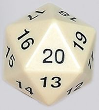 Koplow 55mm Jumbo Opaque D20 White Die