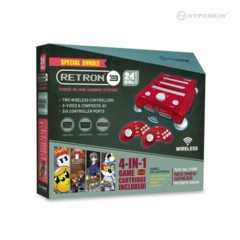 SNES/ Genesis/ NES RetroN 3 Gaming Console 2.4 GHz Edition Game Bundle (Laser Red) - Hyperkin