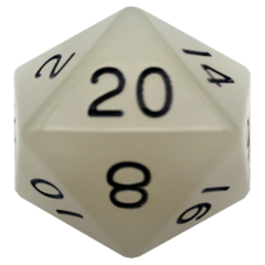 Glow in the Dark Clear 35mm Mega Acrylic d20 Dice