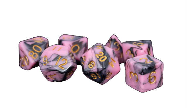 Pink/Black with Gold Numbers 16mm Poly Dice Set