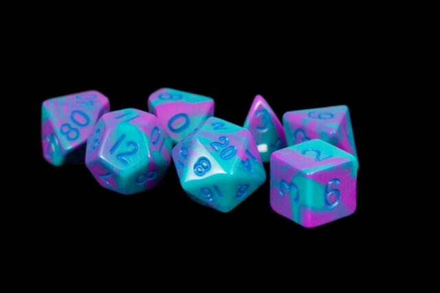 Purple/Teal w/ Blue Numbers 16mm Polyhedral Dice Set