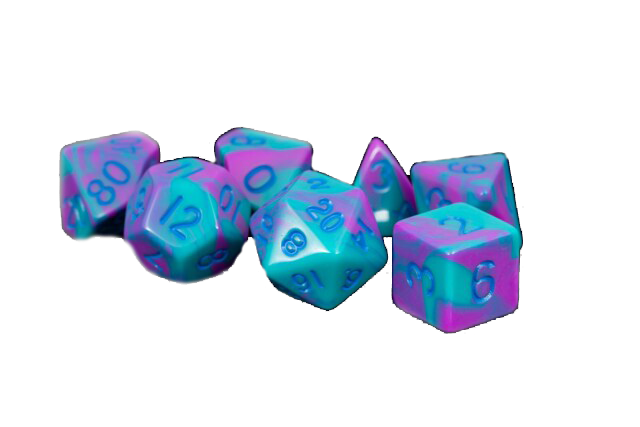 Purple/Teal w/ Blue Numbers 16mm Polyhedral Dice Set