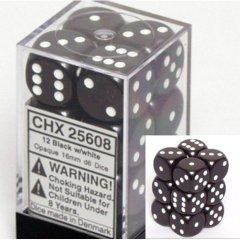 Chessex 25608 Dice d6 Sets: Black with White - 16mm Six Sided Die (12) Block of Dice