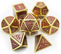 Metal & Enamel Dice Set (7pcs) [Plum & Gold]