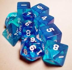 Koplow - Transparent Polyhedral - Blue and White 10 Set