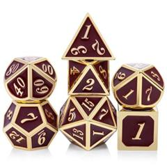 Metal & Enamel Dice Set (7pcs) [Maroon & Gold]
