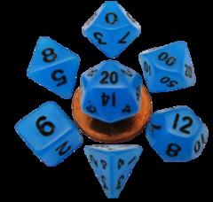 Mini Polyhedral Dice Set - Glow Blue