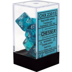 Chessex 23015 Translucent Teal W/ White 7 Dice Set