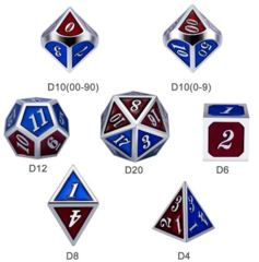 Metal & Enamel Dice Set (7pcs) [Burgundy & Blue]