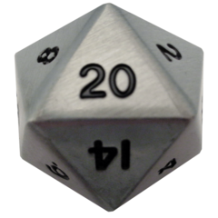 Antique Silver 35mm Mega Metal d20 Dice