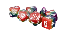 Rainbow 16mm Resin Poly Dice Set