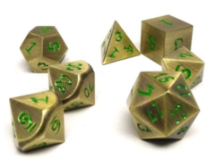 Metal Dice of Ancient Dragons - Ancient Bronze with Green Dragon Font