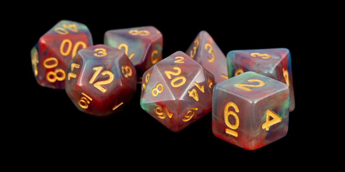 Red Pearl Swirl 16mm Poly Dice Set