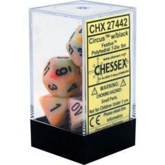 CHX27442 - Festive Circus/Black  Polyhedral 7 Dice Set