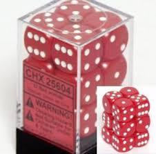 Chessex 25604 Dice d6 Set: Red/White - 16mm Six Sided Die (12) Block of Dice