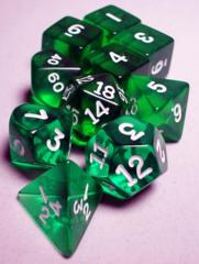 Koplow - Transparent Polyhedral - Green and White 10 Set