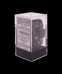 Chessex 27428 Borealis Smoke/Silver Polyhedral 7 Dice Set
