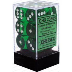 CHX23605 - Dice d6 Set: Green with White Translucent - 16mm Six Sided Die (12) Block of Dice