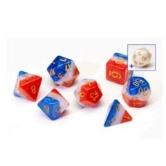 SIRIUS DICE RED, WHITE, & BLUE SEMI-TRANSPARENT 7 DIE SET