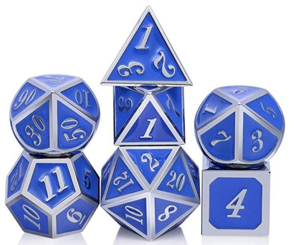 Metal & Enamel Dice Set (7pcs) [Azure & Silver]