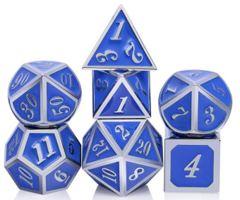 Metal & Enamel Dice Set (7pcs) [Azure & Silver]