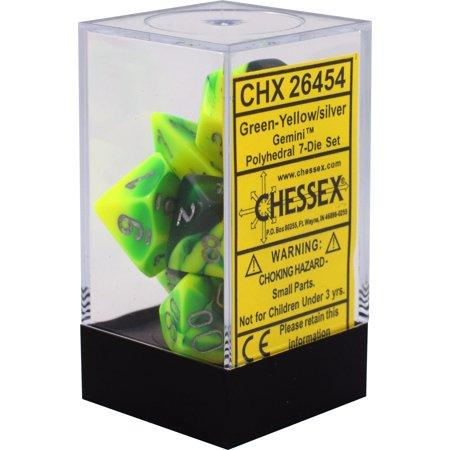 Chessex 26454 Gemini Polyhedral 7-Die Set Green-Yellow/Silver