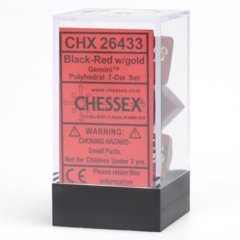 Chessex 26433 Gemini Polyhedral 7-Die Set Black-Red/Gold